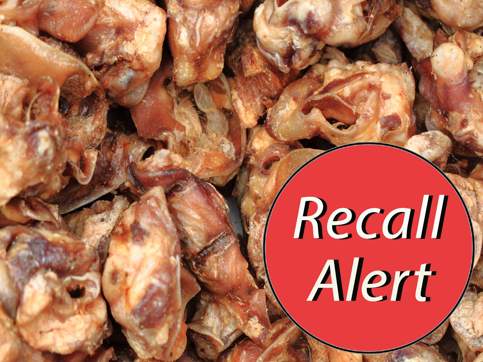 "pig ear dog treats with ""Recall Alert"" sticker"
