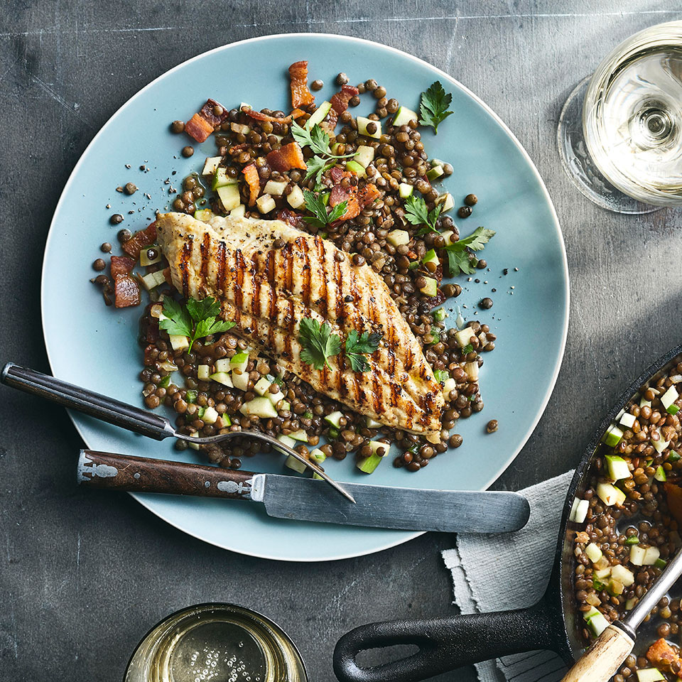Catfish with Sherry Vinegar Lentils