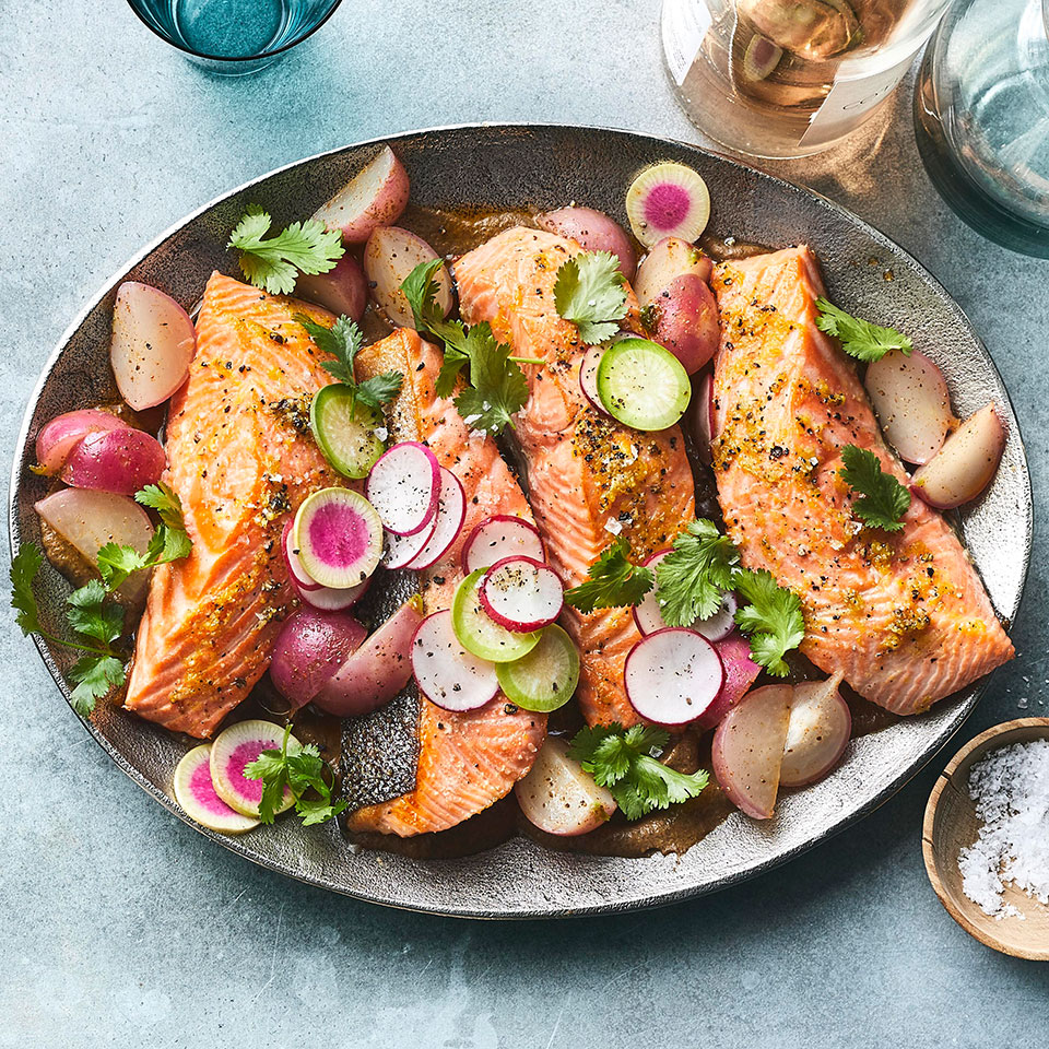 Oven-Baked Salmon with Charred Onions & Old Bay Radishes
