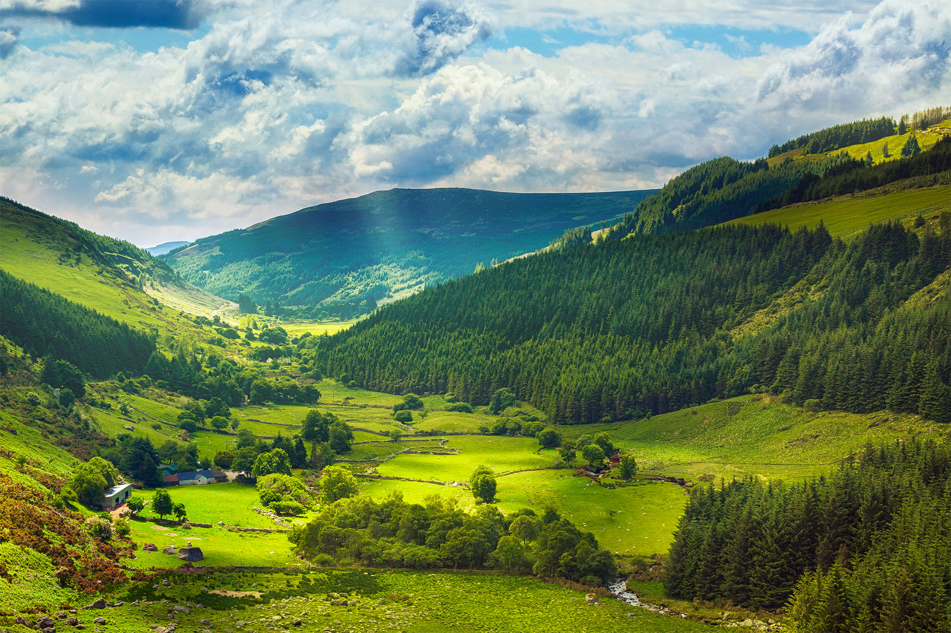 Beautiful Ireland landscape - mountains in background with rolling green hills, trees, and cloudy sky