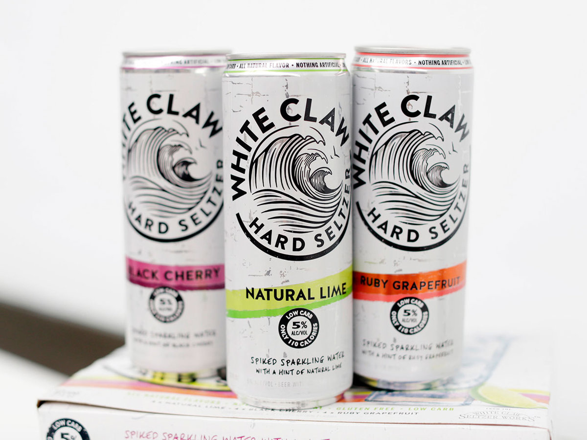 A variety of White Claw Hard Seltzer cans