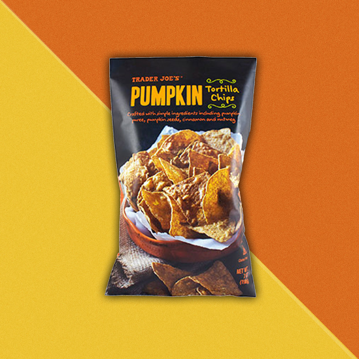 Pumpkin flavored tortilla chips