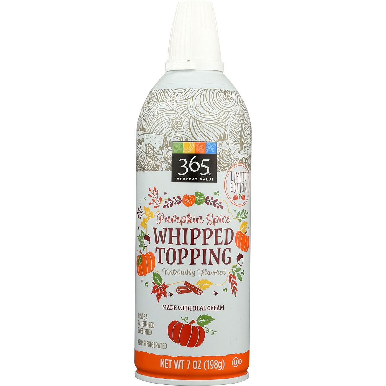 bottle of 365 brand Pumpkin Spice Whipped Topping