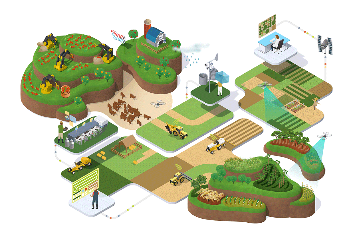 Illustration of modern farm