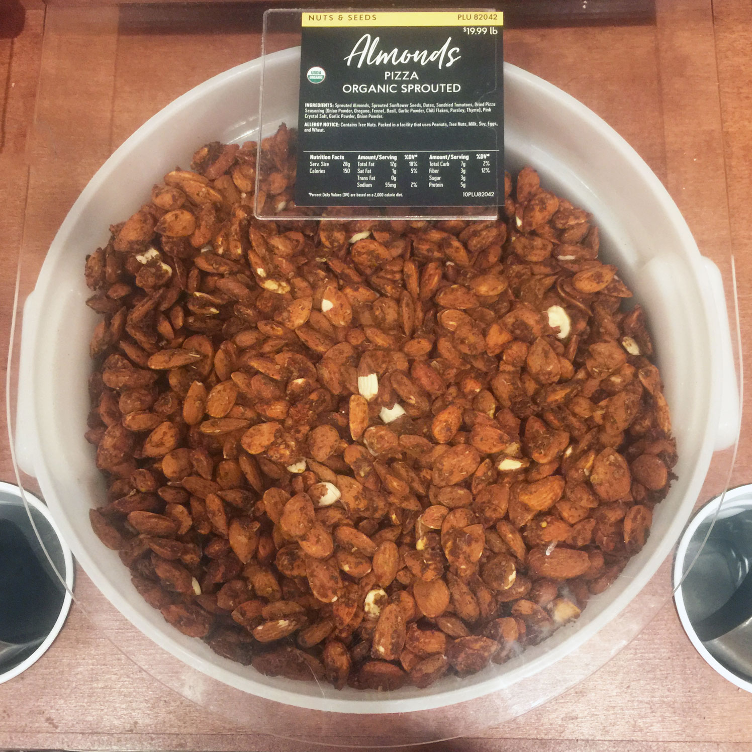 container of Pizza flavored almonds