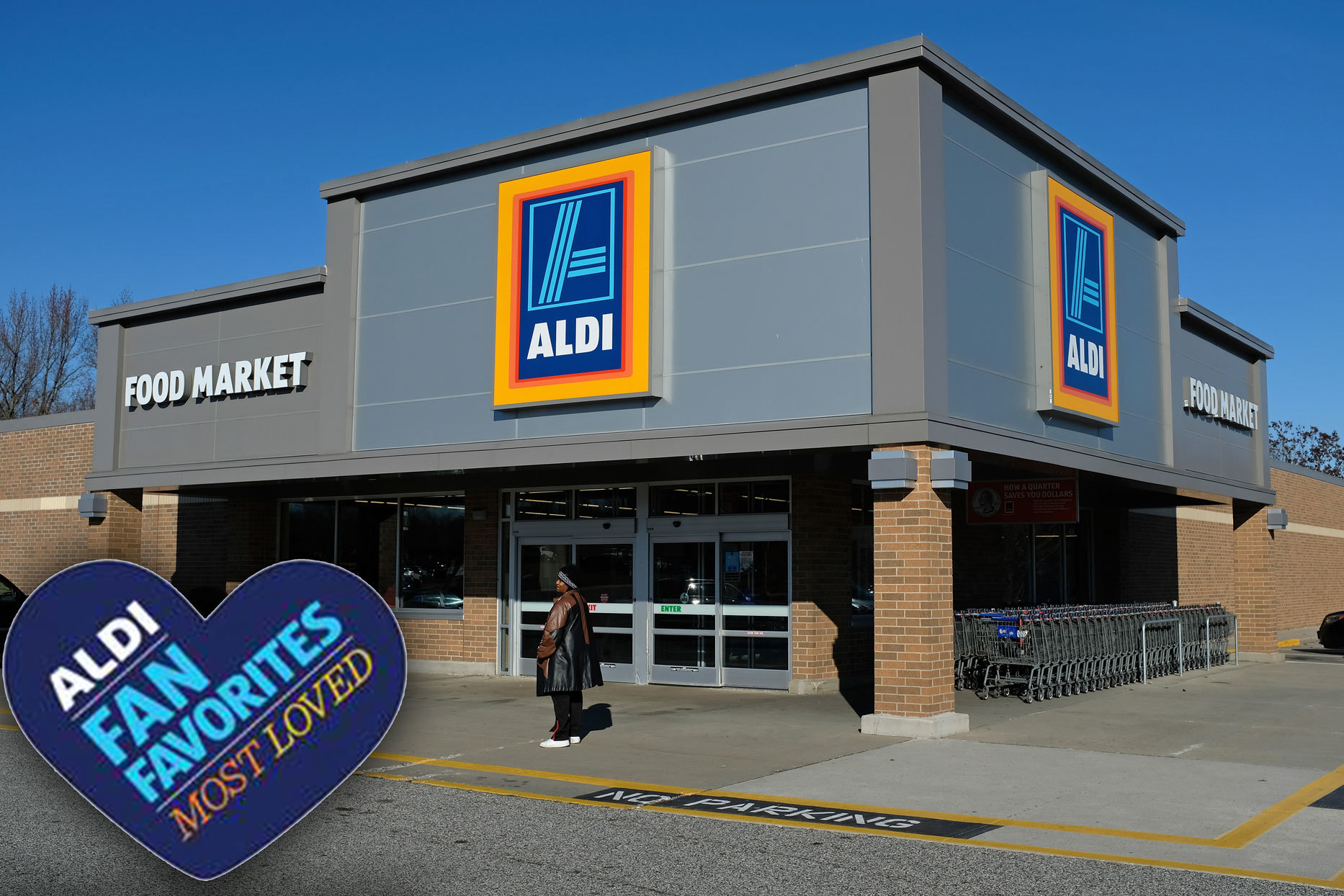 Aldi storefront with Aldi Fan Favorites