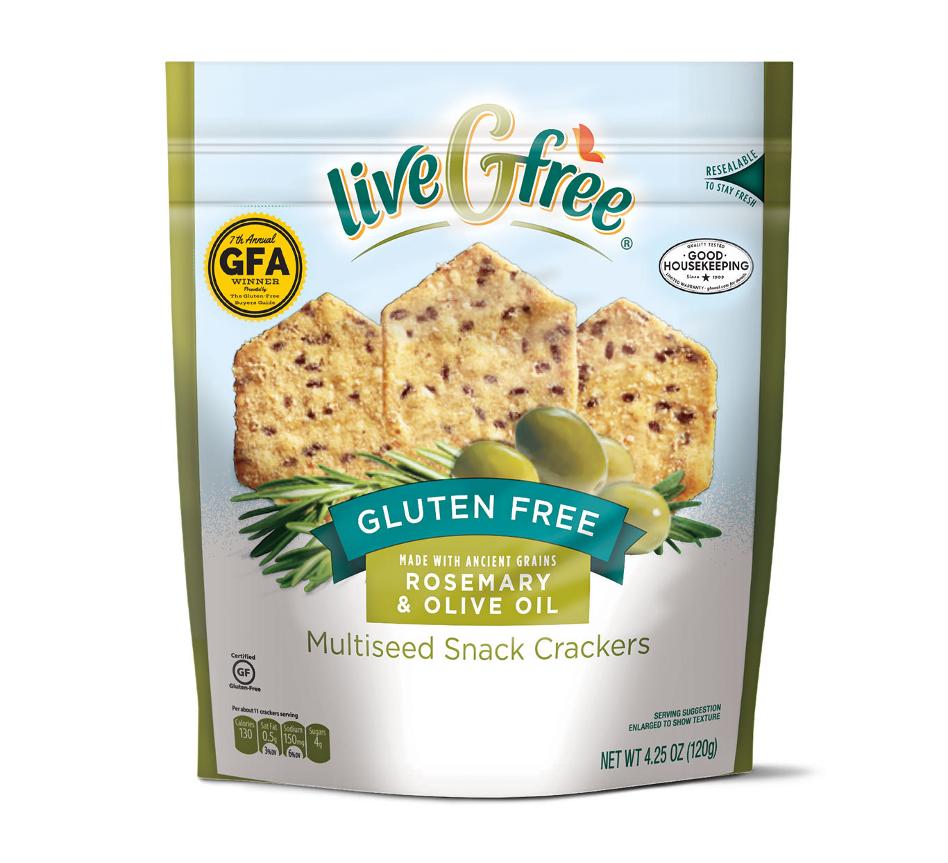 Live Gfree brand Gluten Free Rosemary & Olive Oil Multiseed Snack Crackers