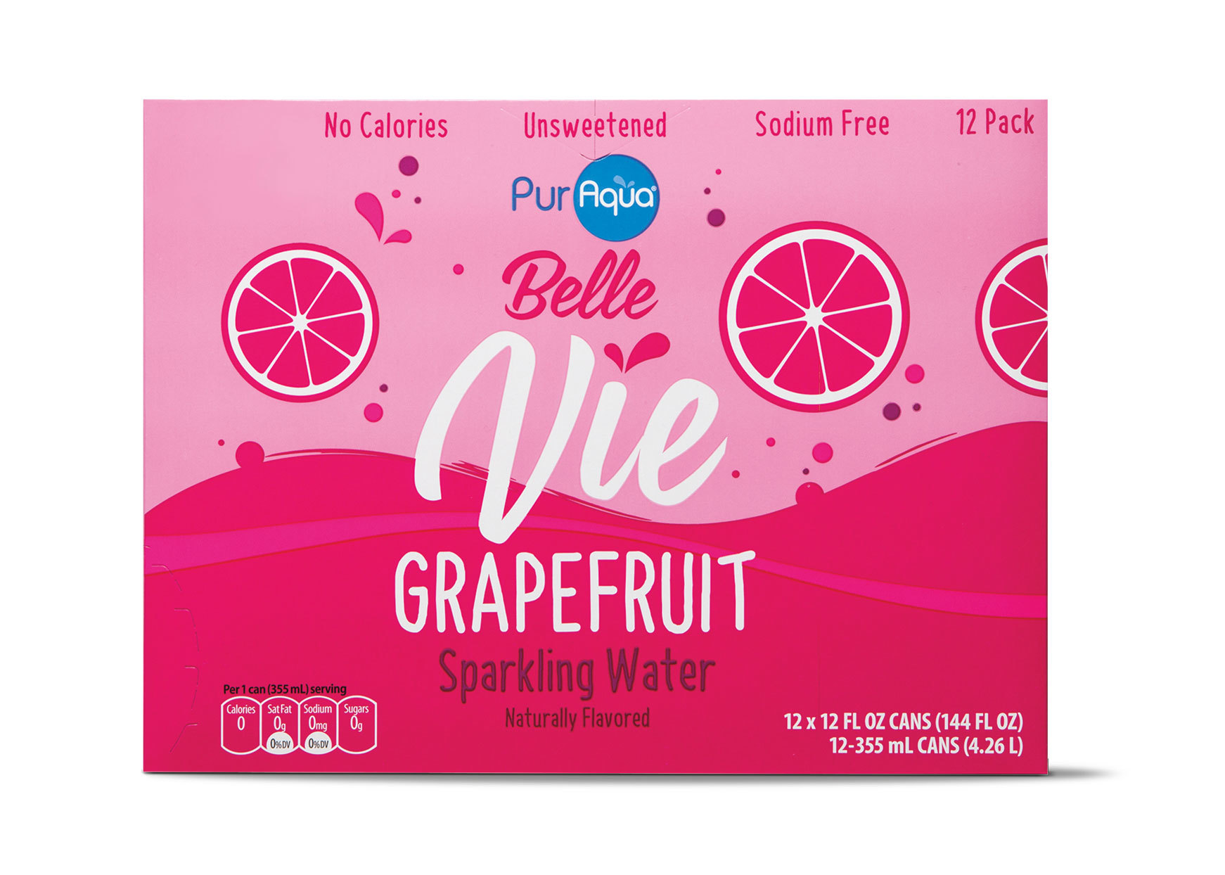 PurAqua Belle Vie Sparkling Water - box of Grapefruit flavored canned beverages