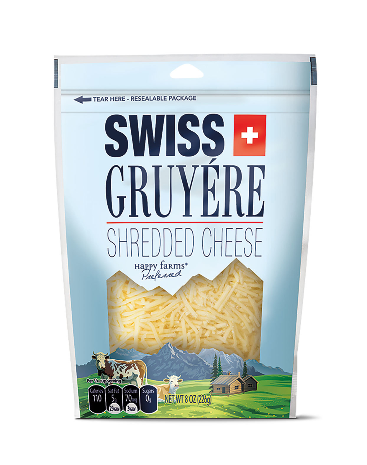 Swiss Gruyere Shredded Cheese in a bag