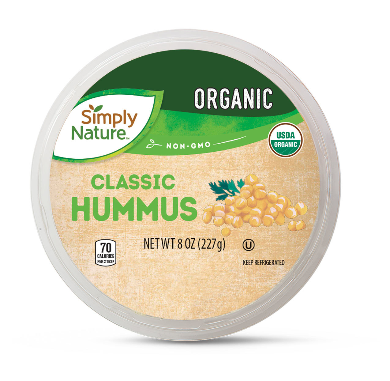 Simply Nature brand Organic packaged Hummus