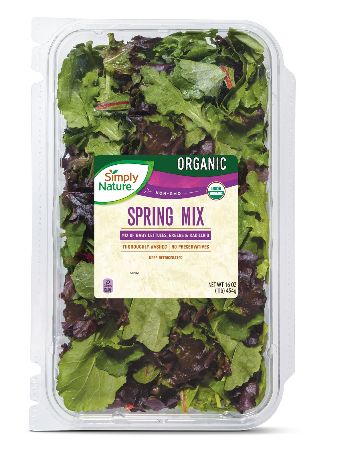 large box of organic spring mix salad mix