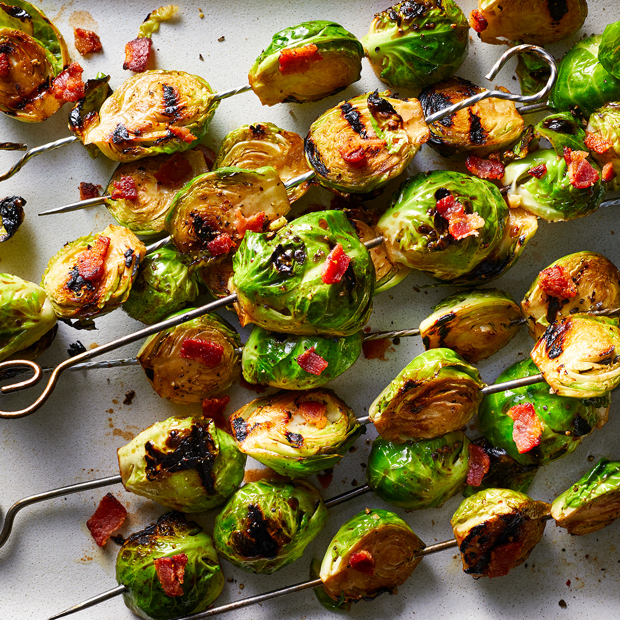 Grilled Brussels Sprouts with Bacon & Honey-Balsamic Glaze