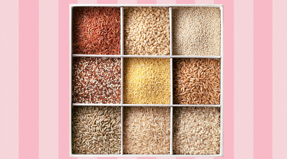 Various types of rice grains in divided compartments