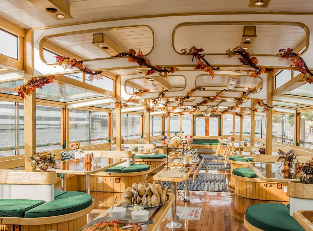 interior of a brunch cruise ship