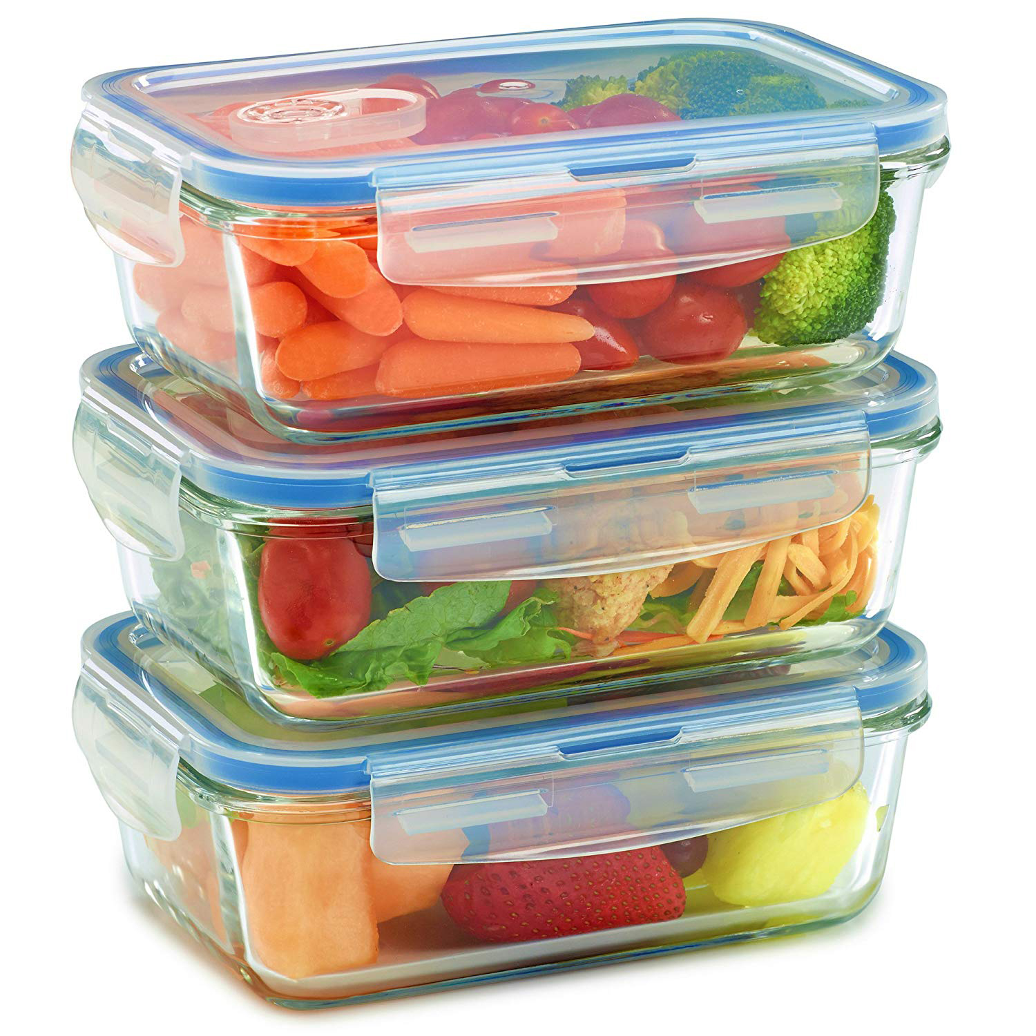 3 glass containers with plastic lids - fresh foods inside