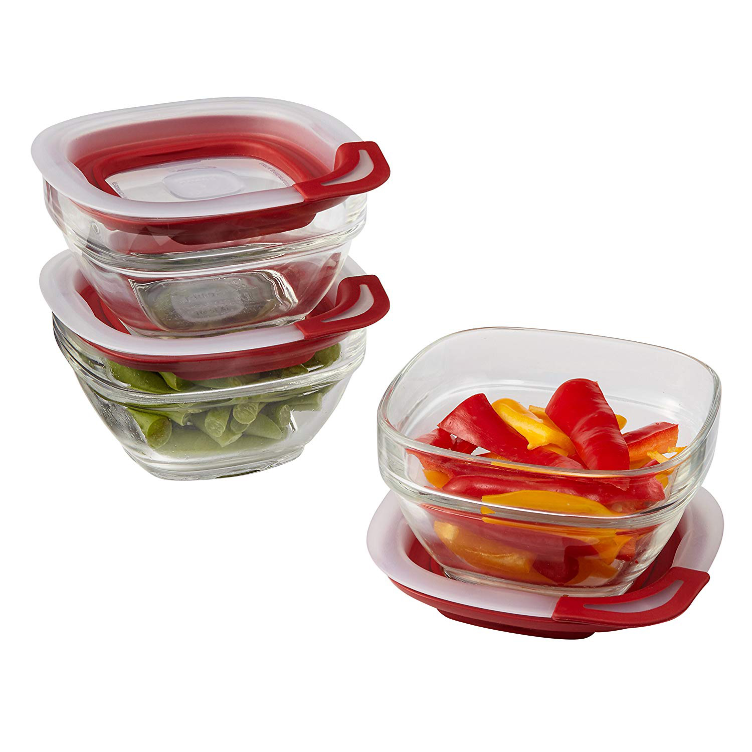 3 glass containers with rubber lids and fresh food inside