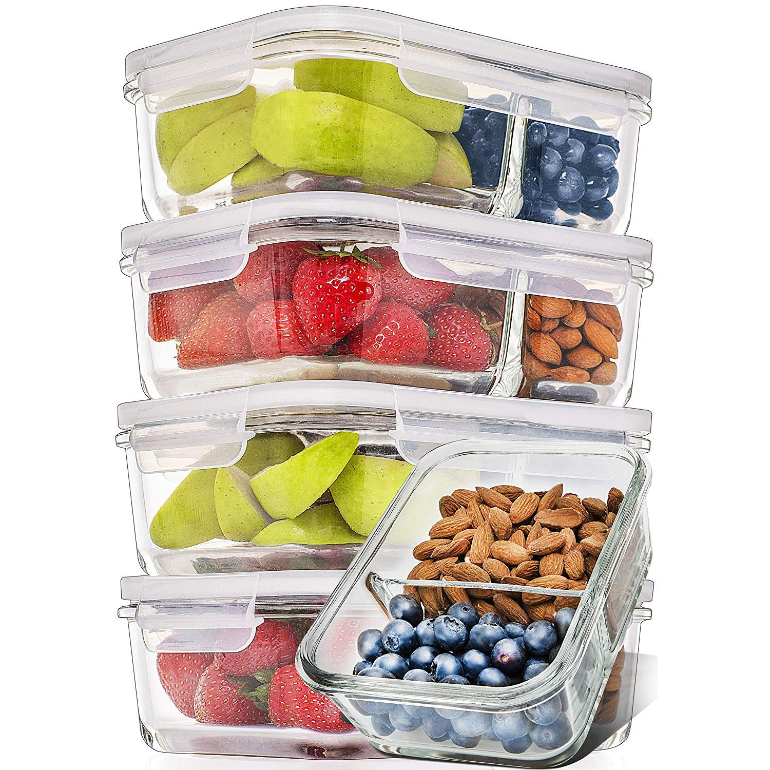 Prep Naturals Meal Prep Containers with fresh foods inside