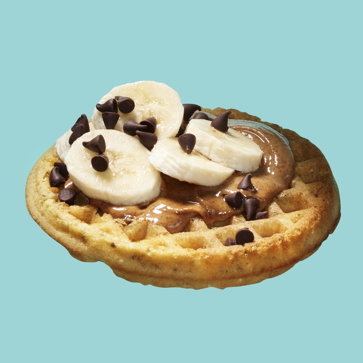 Waffle with Nut Butter, Banana & Chocolate Chips