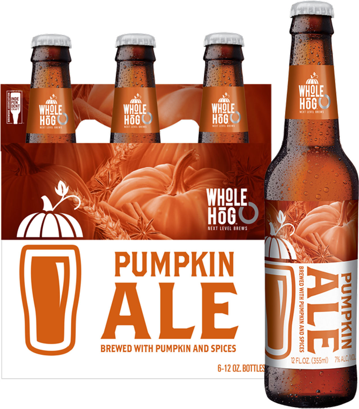 Whole Hog Pumpkin Ale in glass bottes - 6 pack