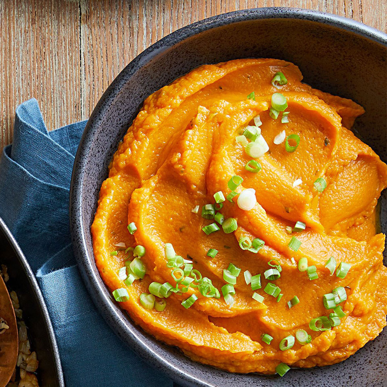 This colorful twist on traditional mashed potatoes swaps in roasted sweet potatoes and incorporates the flavors of smoked paprika, cayenne, and orange zest. You can use regular paprika instead of smoked, and can omit the cayenne for a less spicy version.