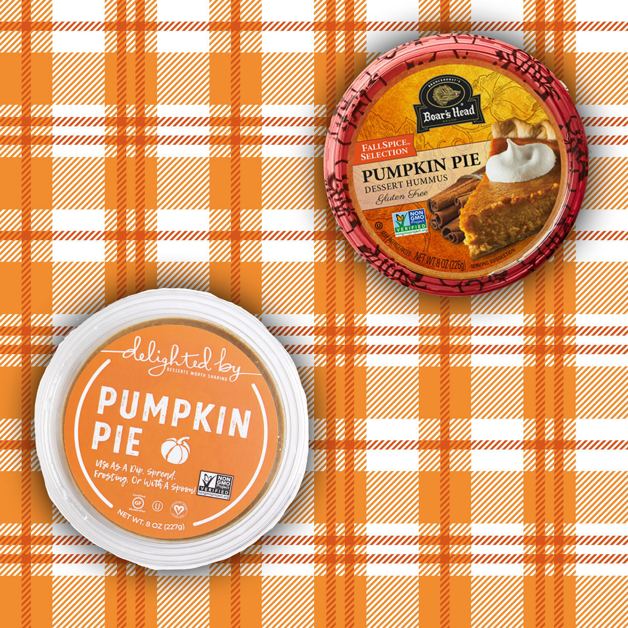 2 containers of Pumpkin Pie Dessert Hummus