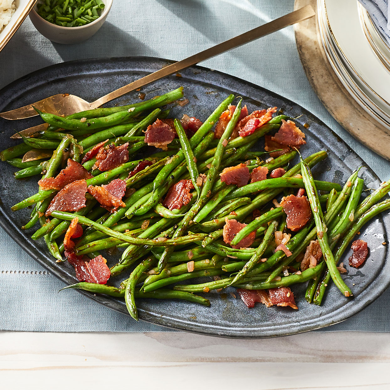 Roasted Green Beans with Applewood Bacon