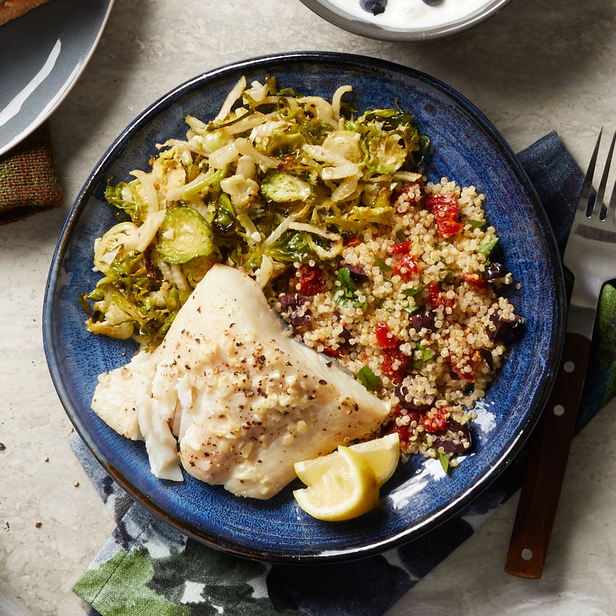 Day 8: Baked Halibut with Brussels Sprouts & Quinoa