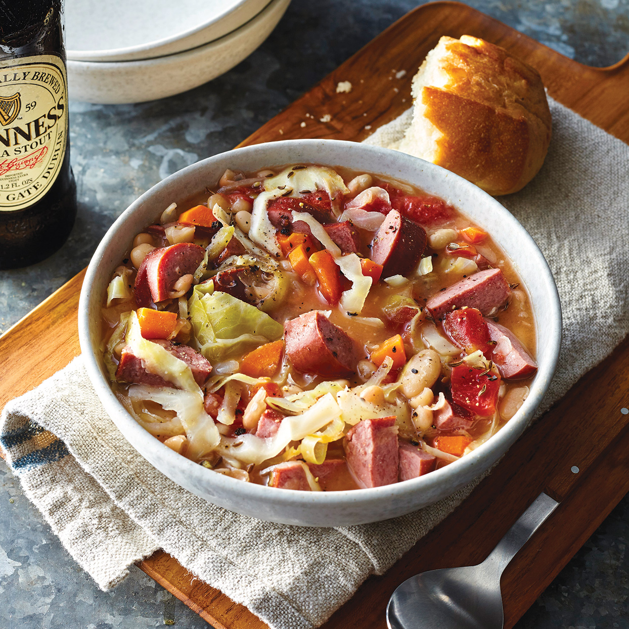 Slow-Cooker Irish Sausage, Bean & Cabbage Stew