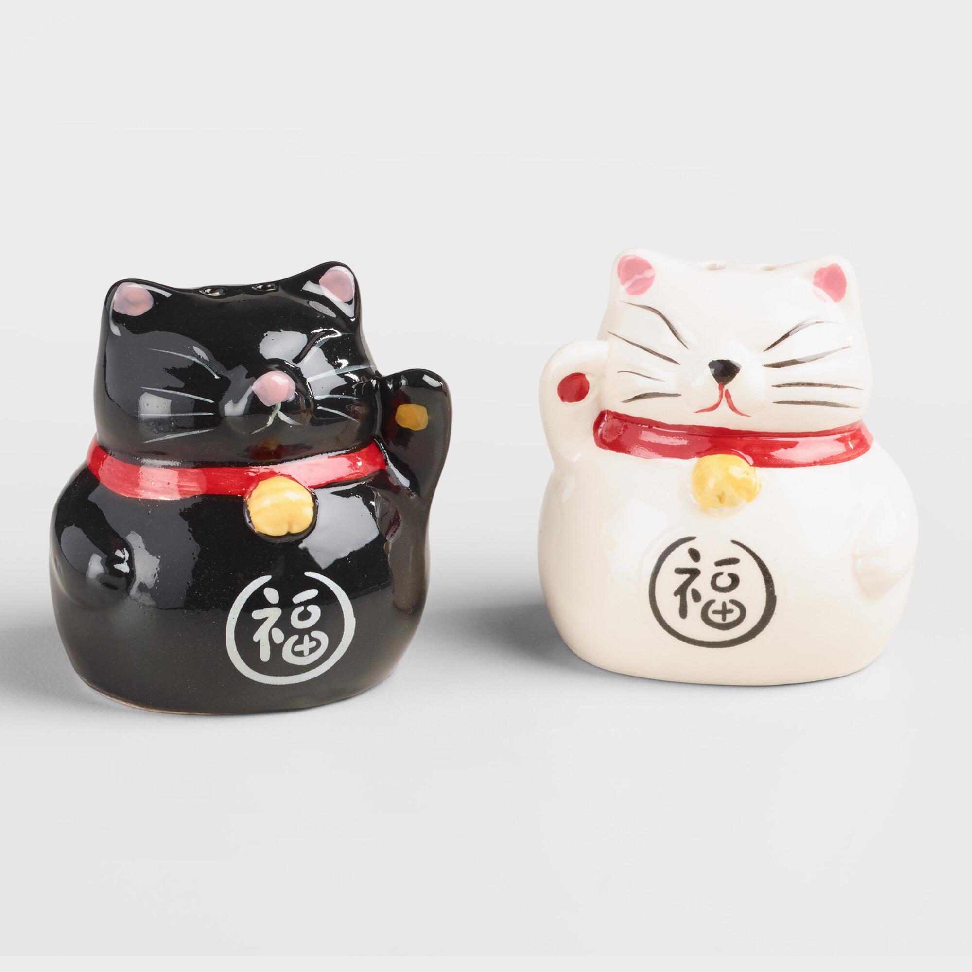 Lucky Cat Salt and Pepper Shakers