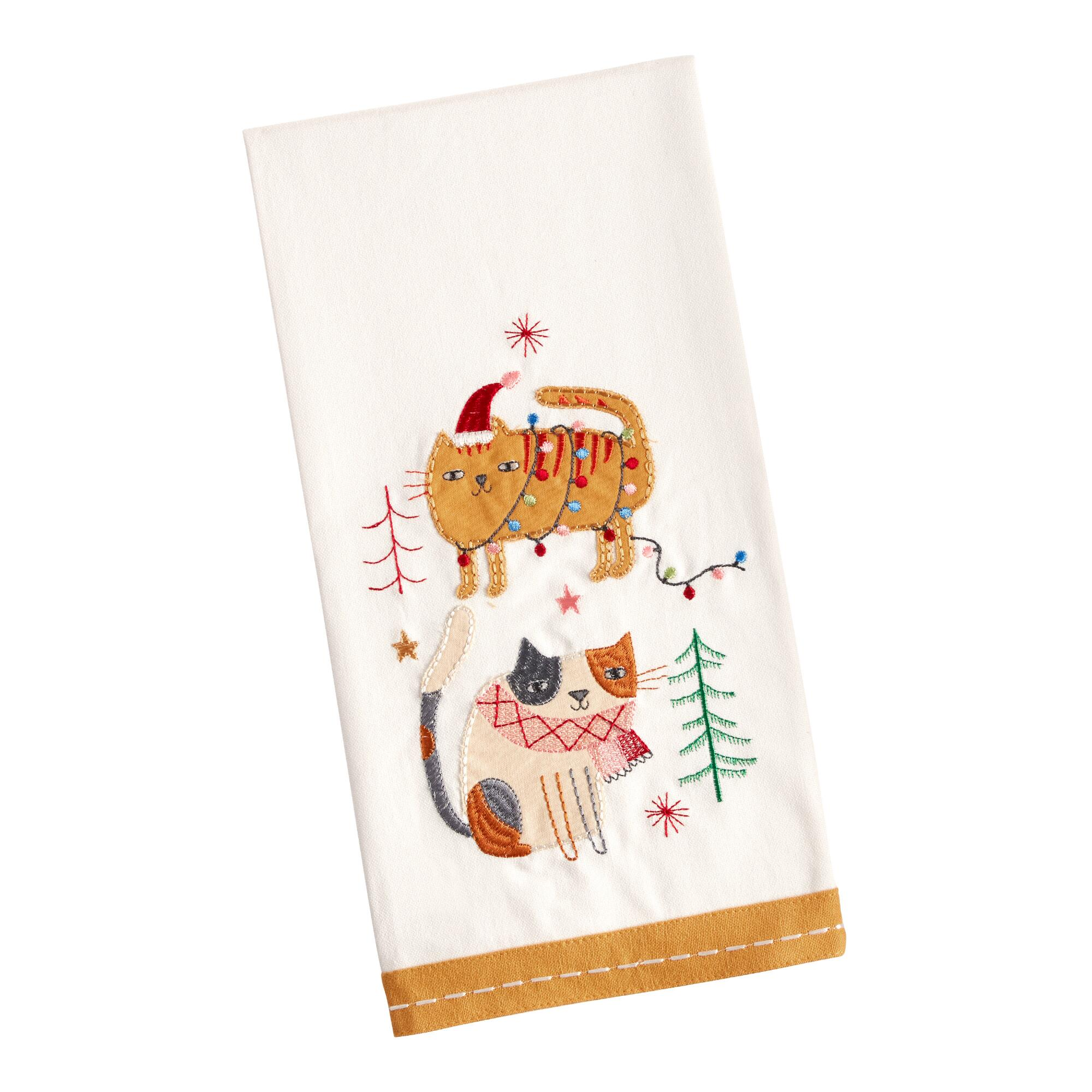 holiday cat kitchen towel