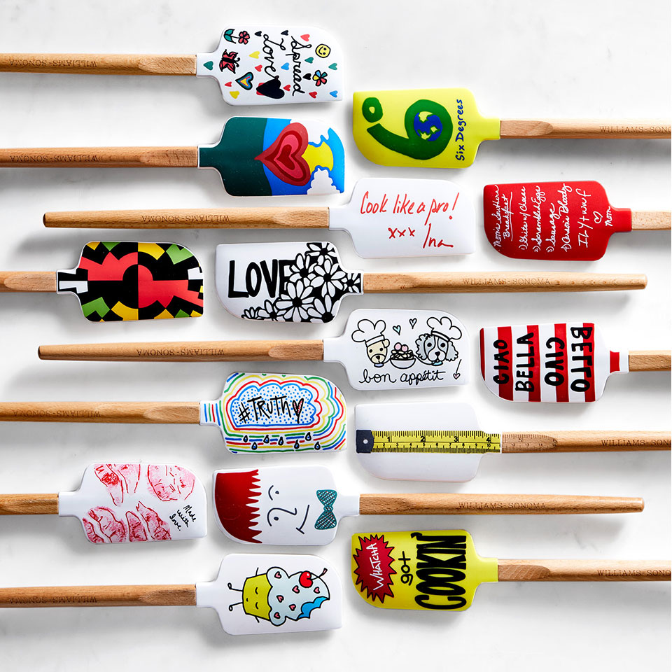 rubber spatulas with artistic designs and wooden handles