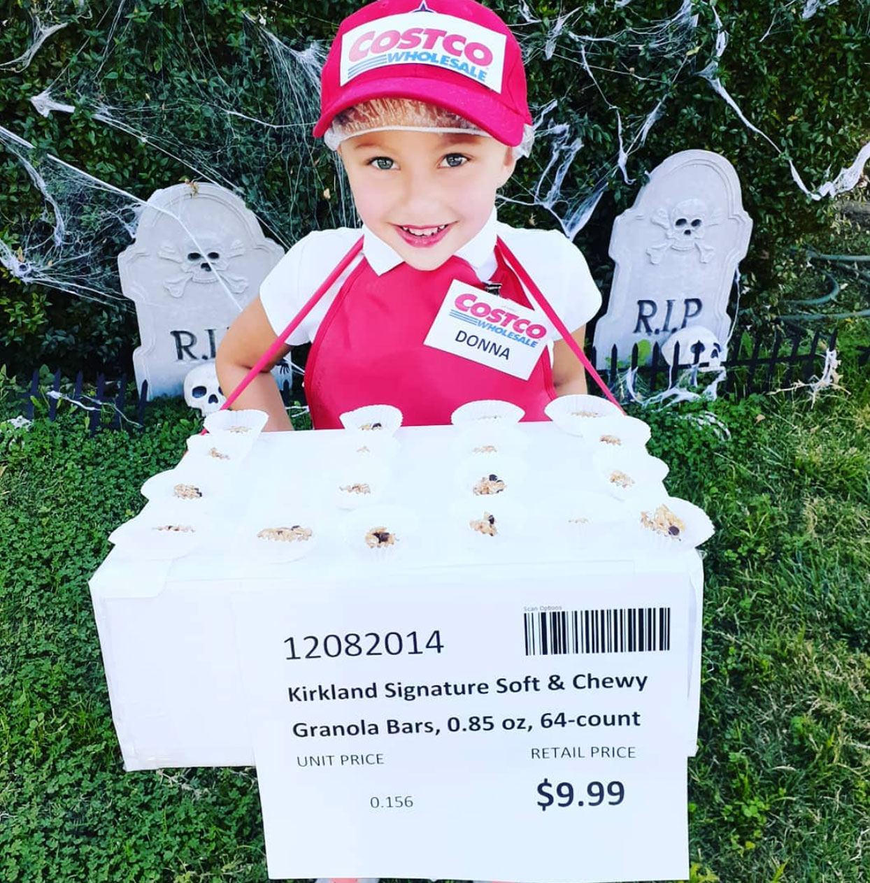 kid dressed as a costco sample person