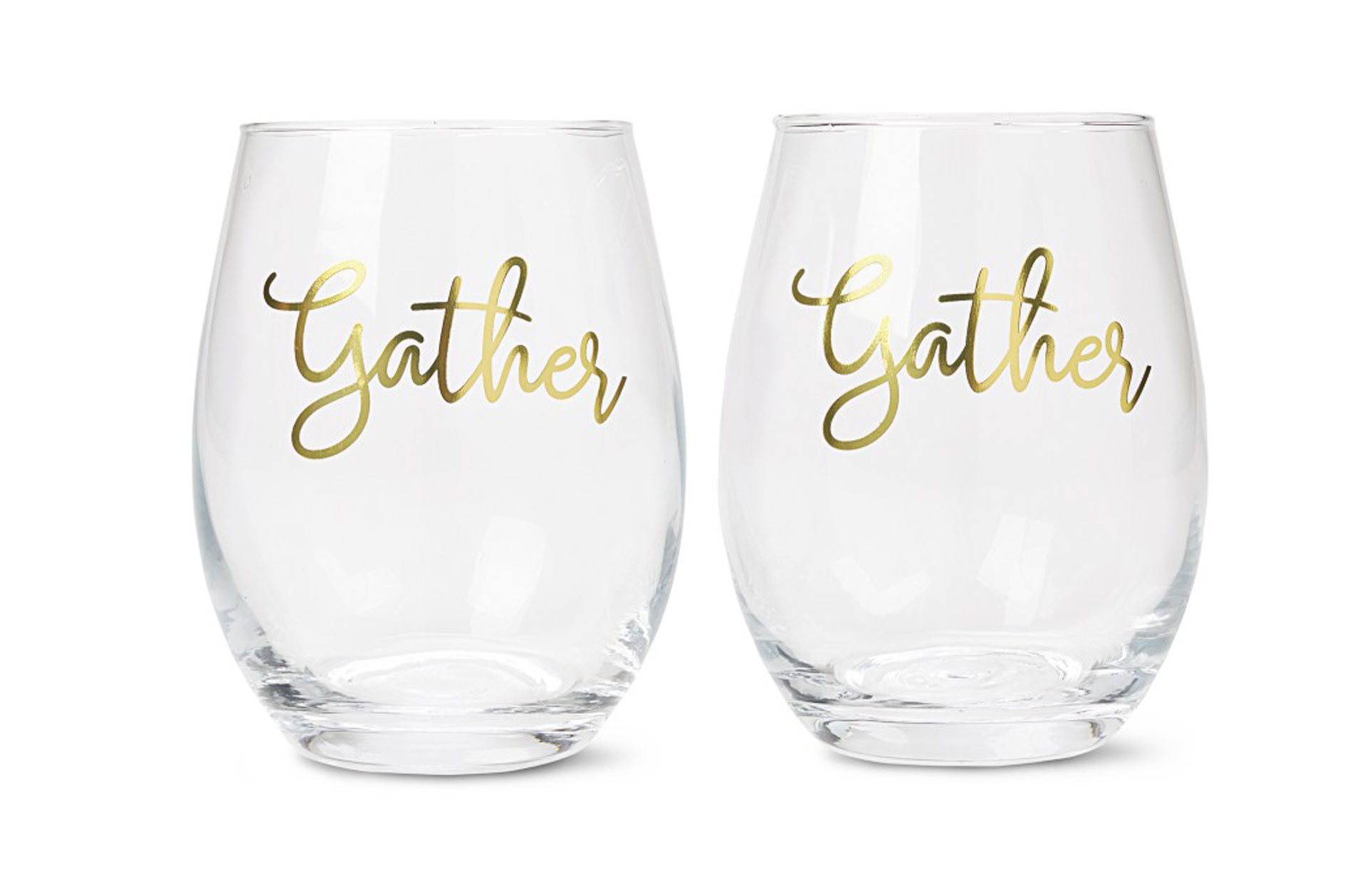 "Aldi stemless wine glasses with ""Gather"" printed on them"
