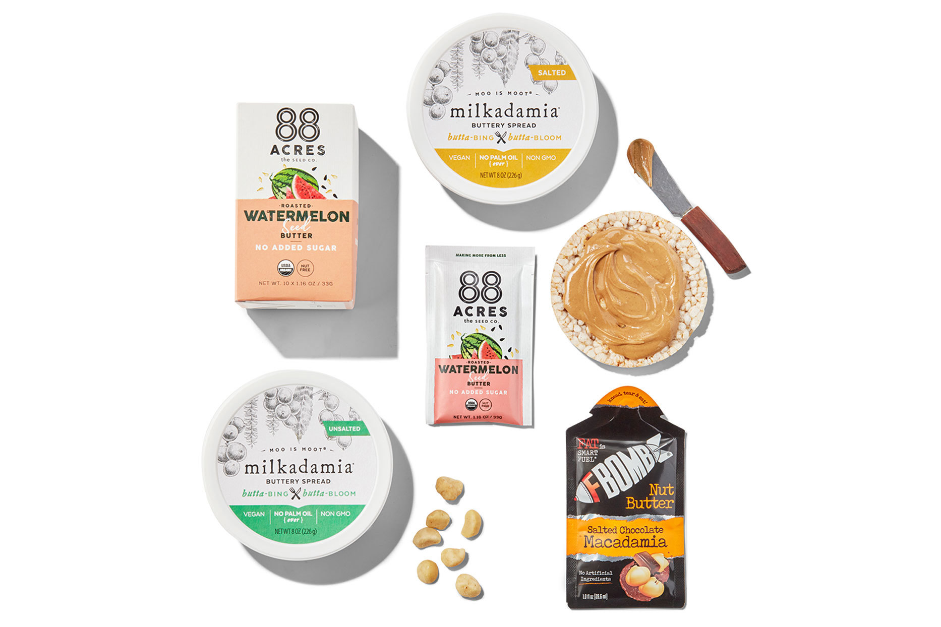 Various flavored butters and spread products