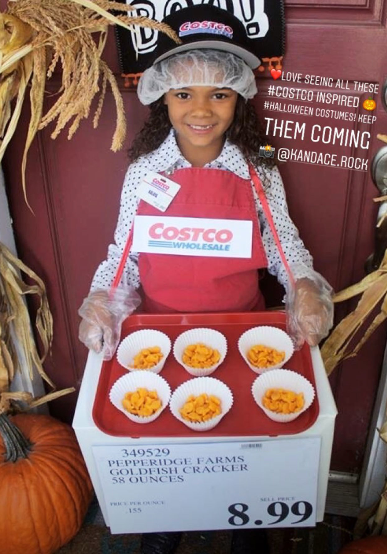 little girl with costco sample person costume on