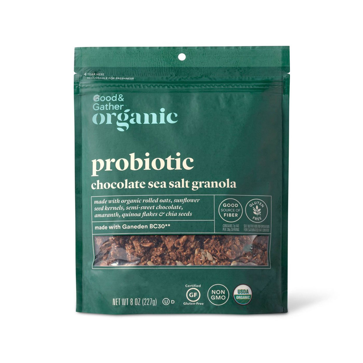 Bag of Target's organic probiotic chocolate sea salt granola