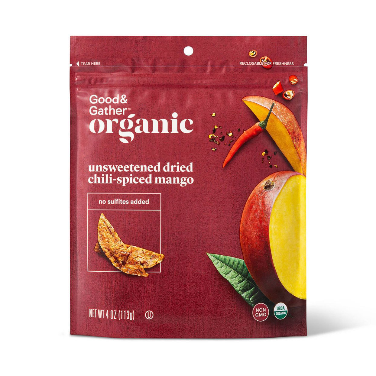 Bag of Target's organic, unsweetened dried chili-spiced mango