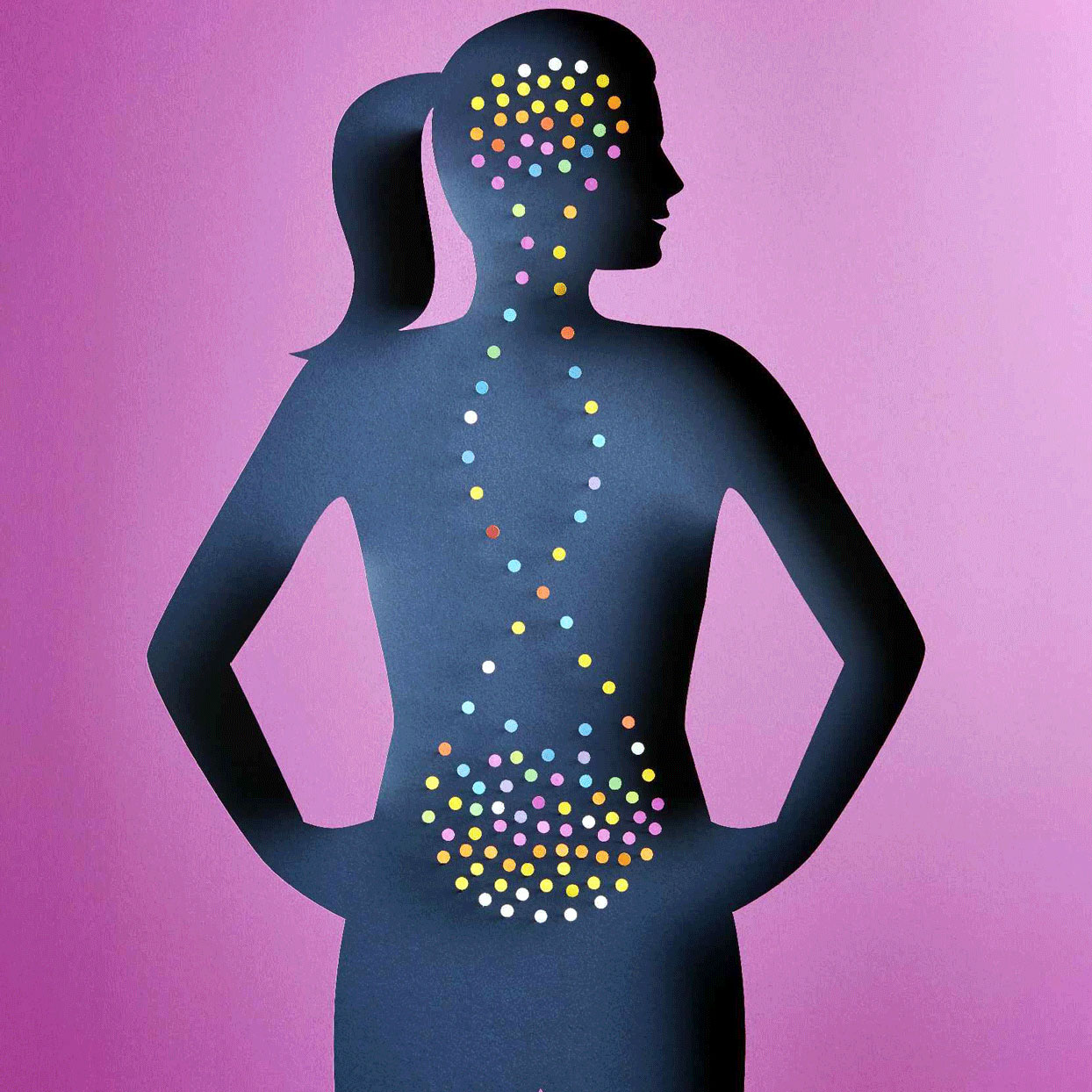 Illustration - silhouette of a woman with colored dots around her gut and moving up to her brain
