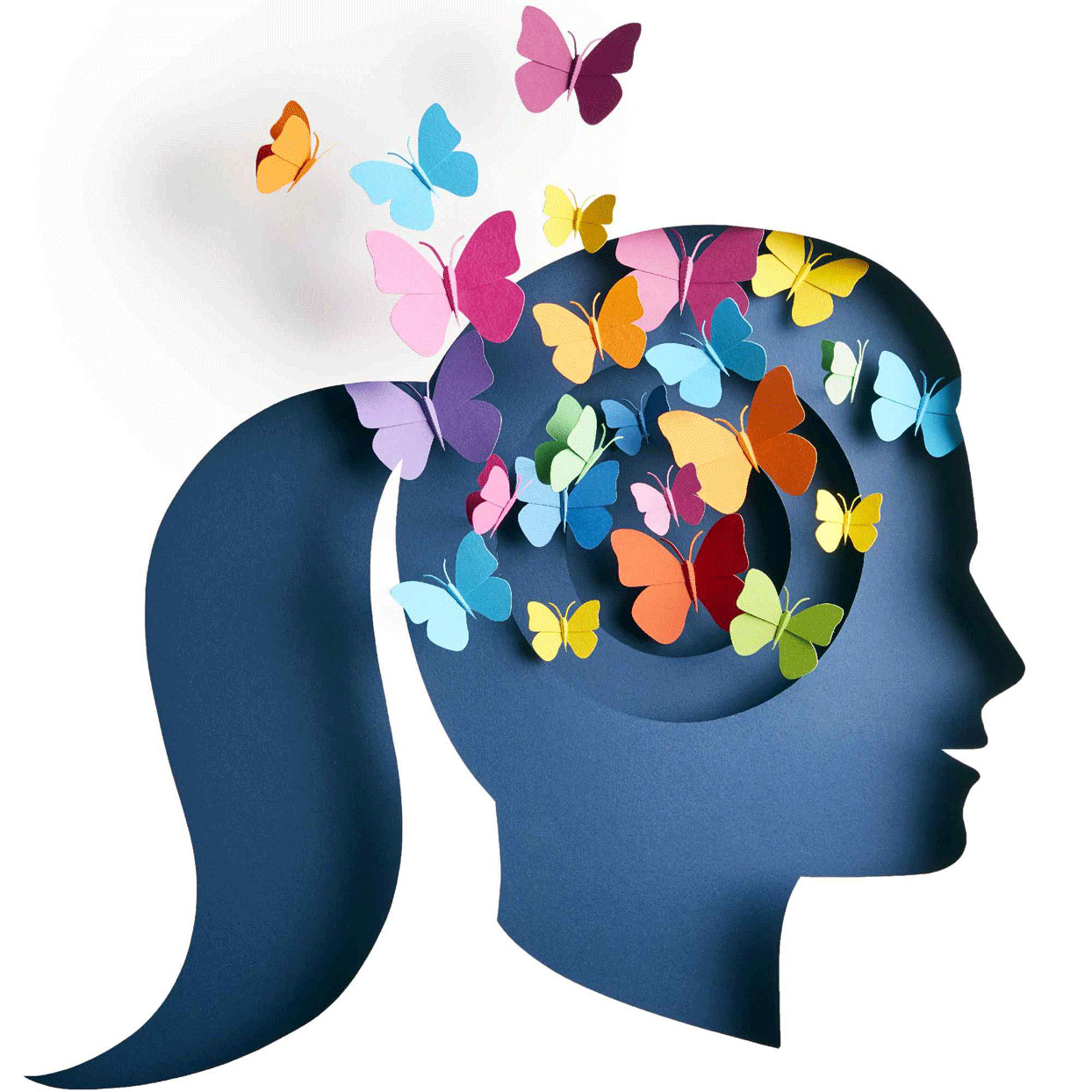 Illustration - silhouette of a woman's profile with colorful butterflies flying out of her brain area