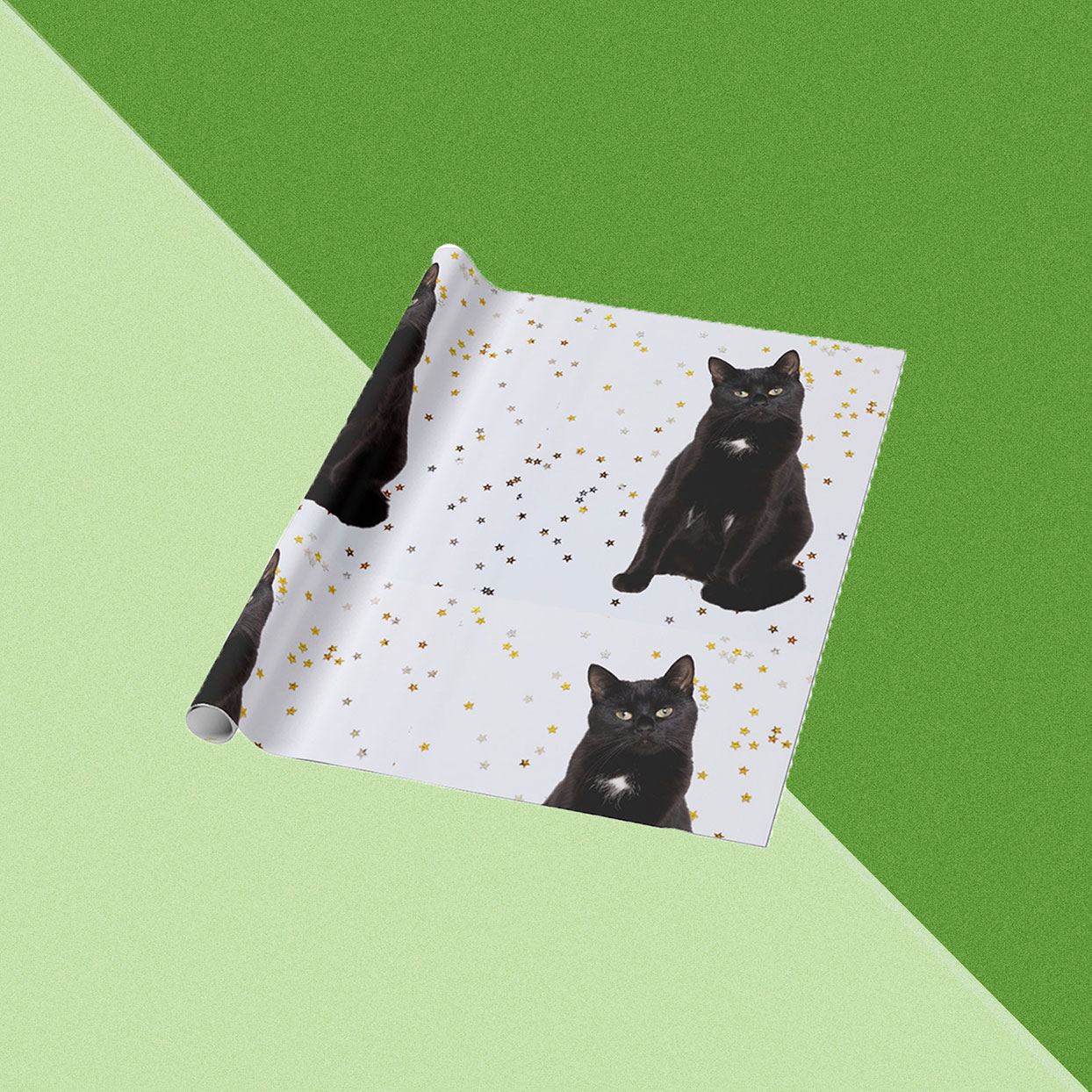 wrapping paper with stars and cats