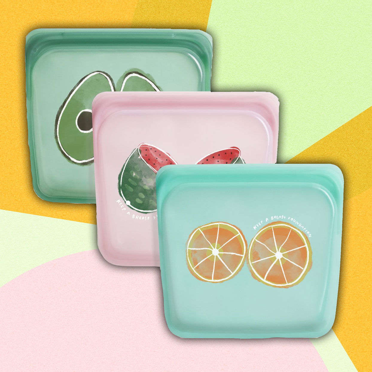 3 bags with fruit designs