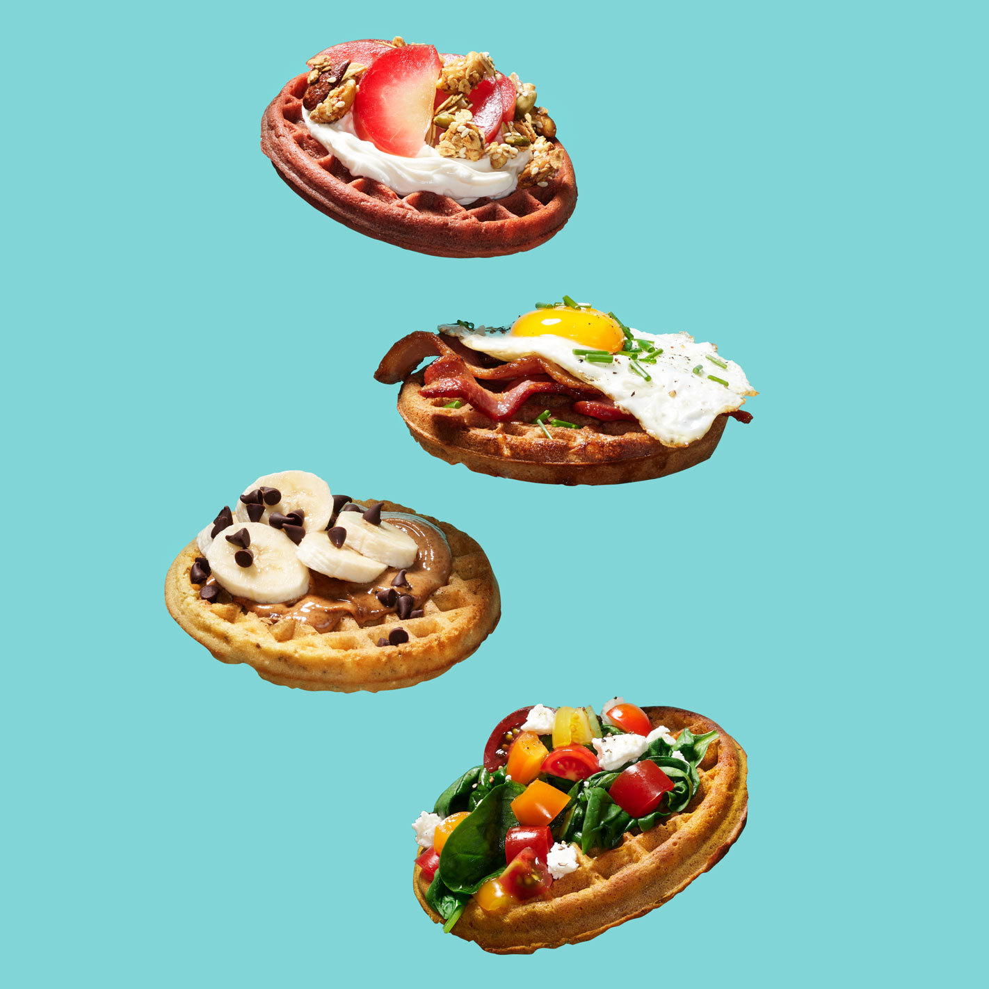 4 waffles with various toppings