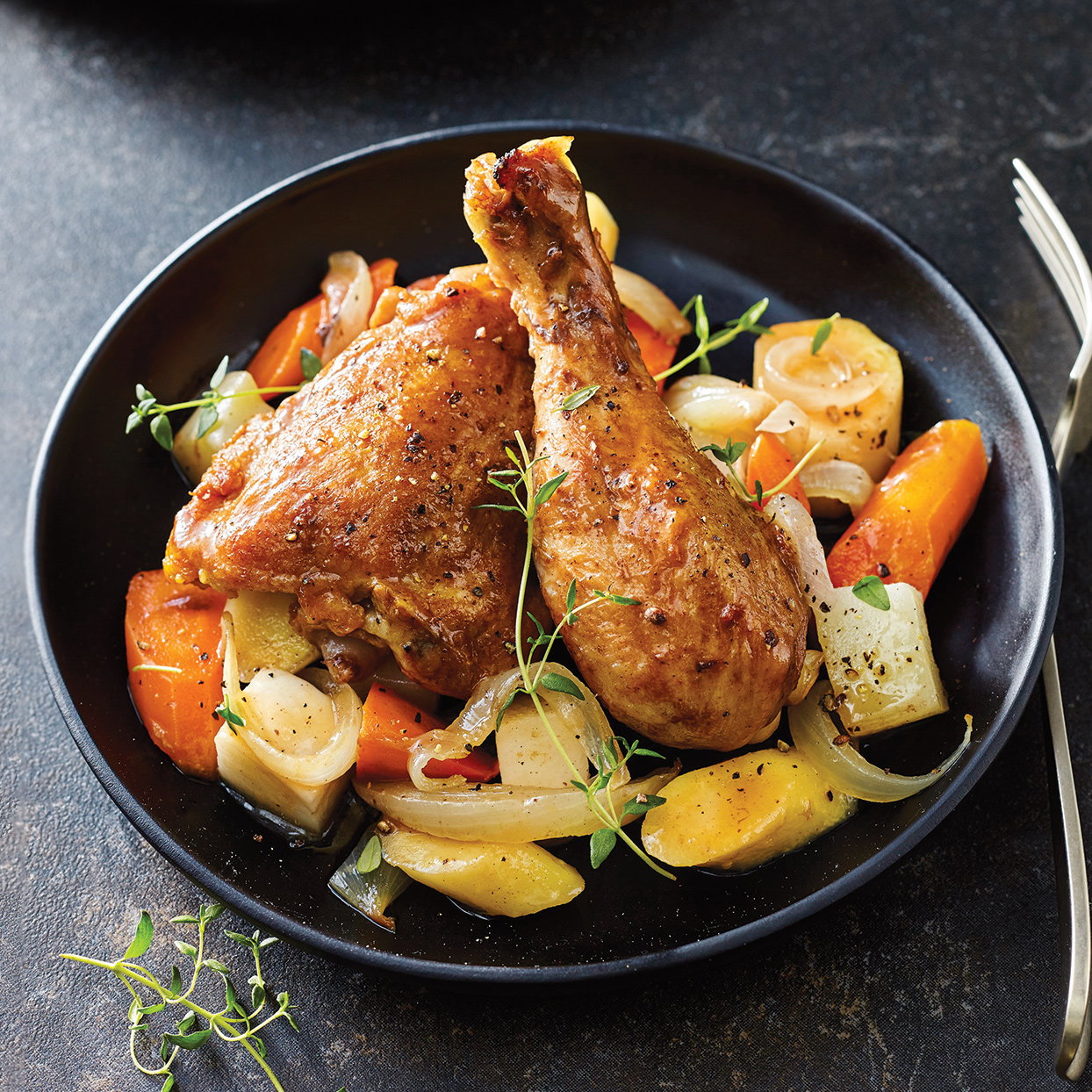 Slow-Cooker Chicken & Honey-Glazed Root Vegetables
