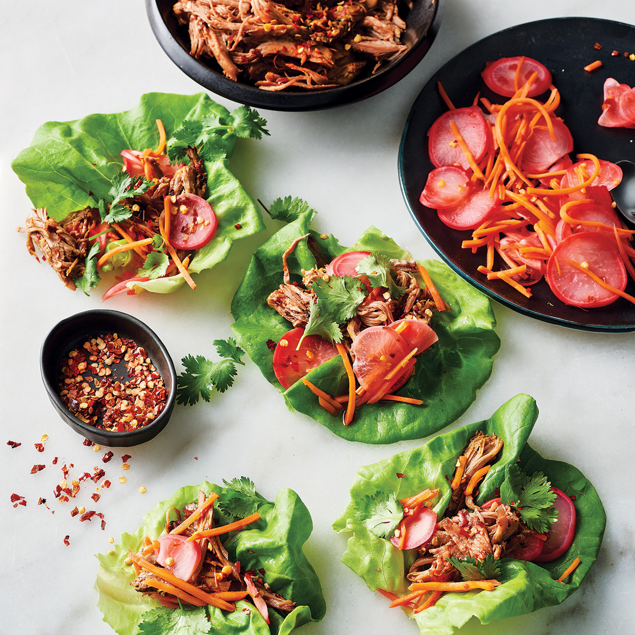 Slow-Cooker Soy-Glazed Pork in Lettuce Cups