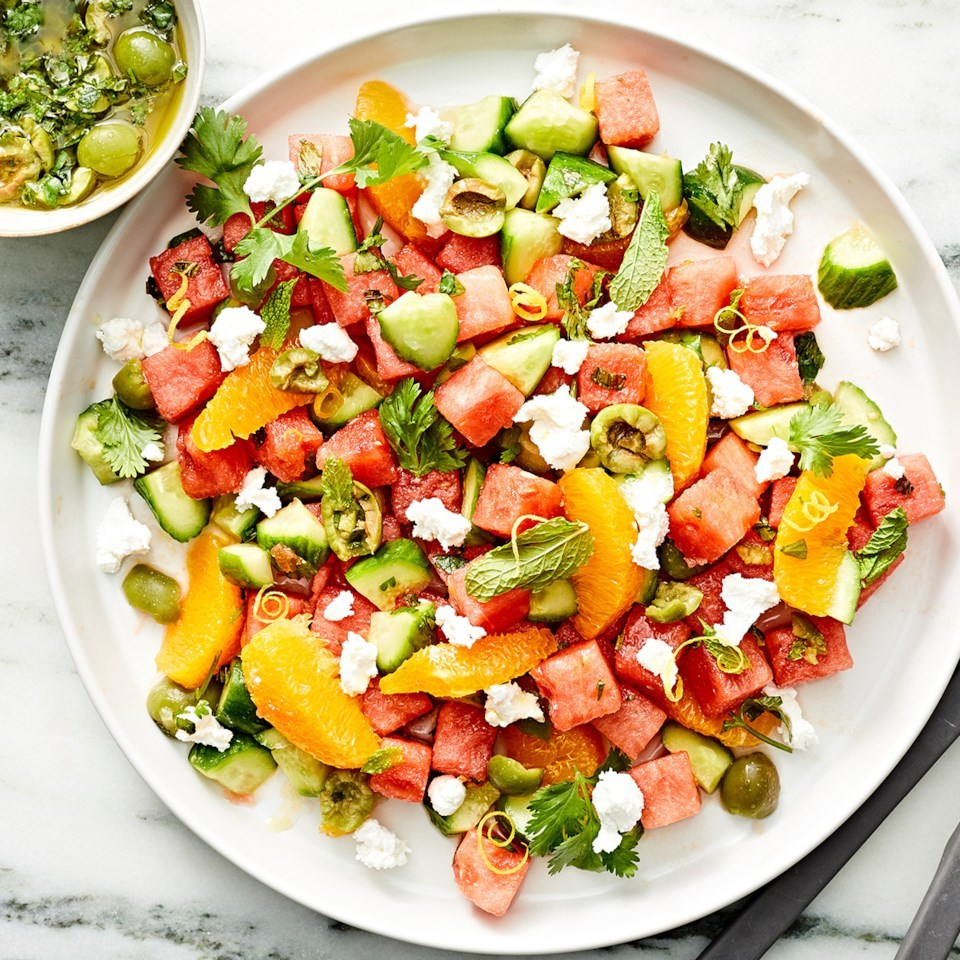 Watermelon, Orange & Cucumber Salad with Castelvetrano Olive Vinaigrette