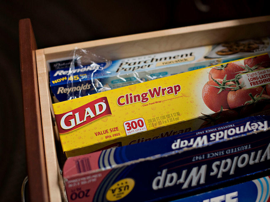 Clorox Co. Glad brand cling wrap is arranged for a photograph in Tiskilwa, Illinois, U.S., on Tuesday, Feb. 3, 2015. Clorox Co. is scheduled to report second-quarter earnings on Feb. 4. Photographer: Daniel Acker/Bloomberg via Getty Images