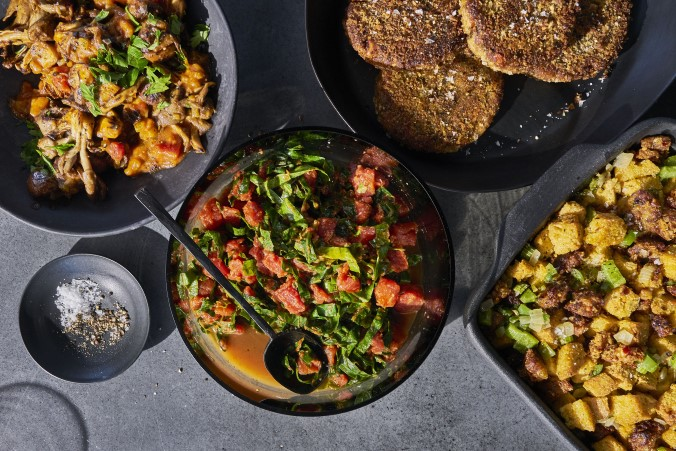 full food spread of chef Jenné Claiborne's Vegan Meal for 2 at Whole Foods