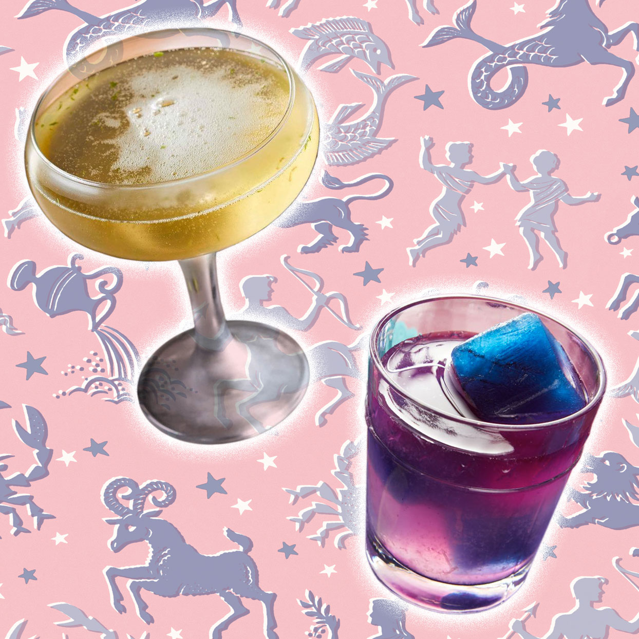 2 cocktails on an astrology graphic background