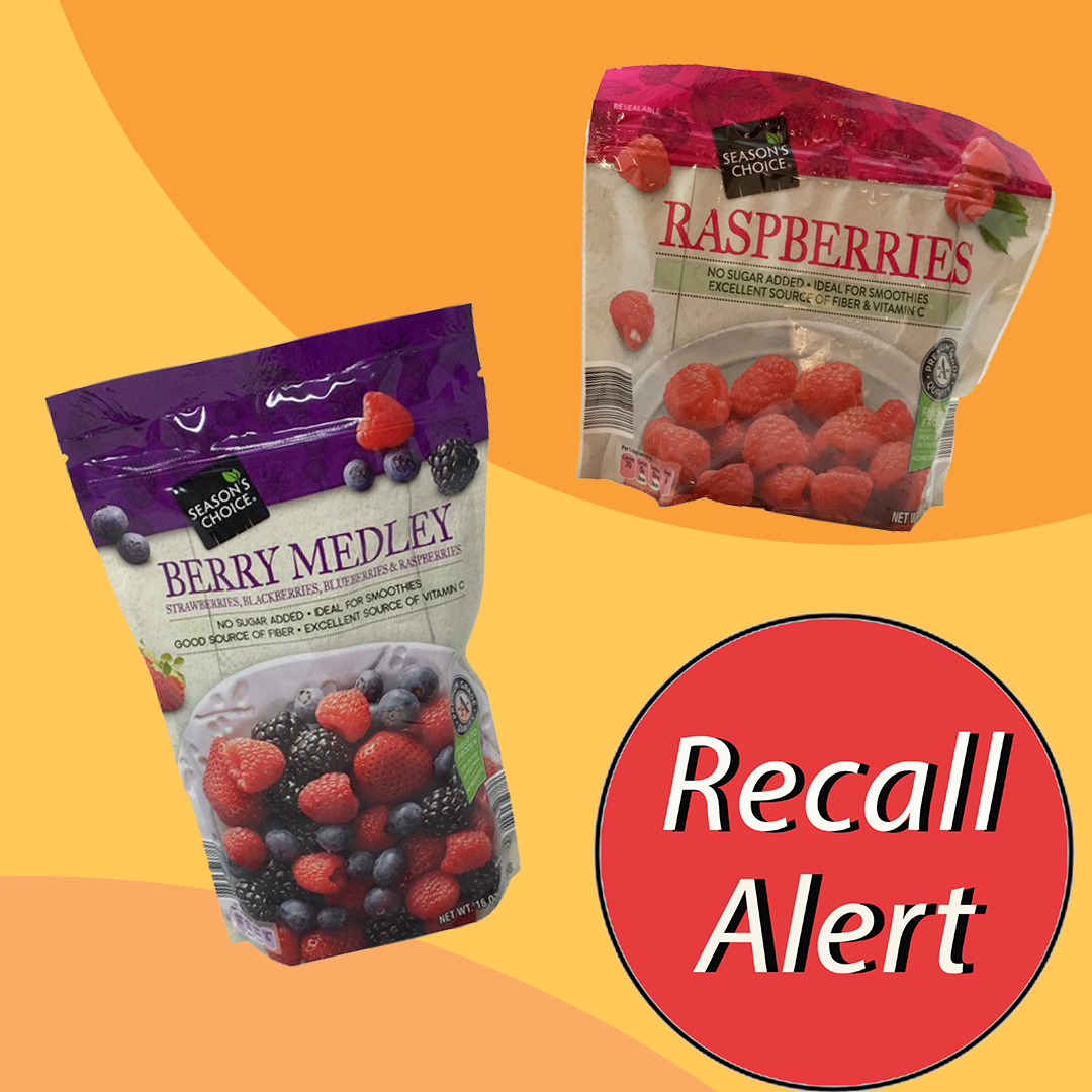 2 bags of frozen berries with Recall Alert sticker