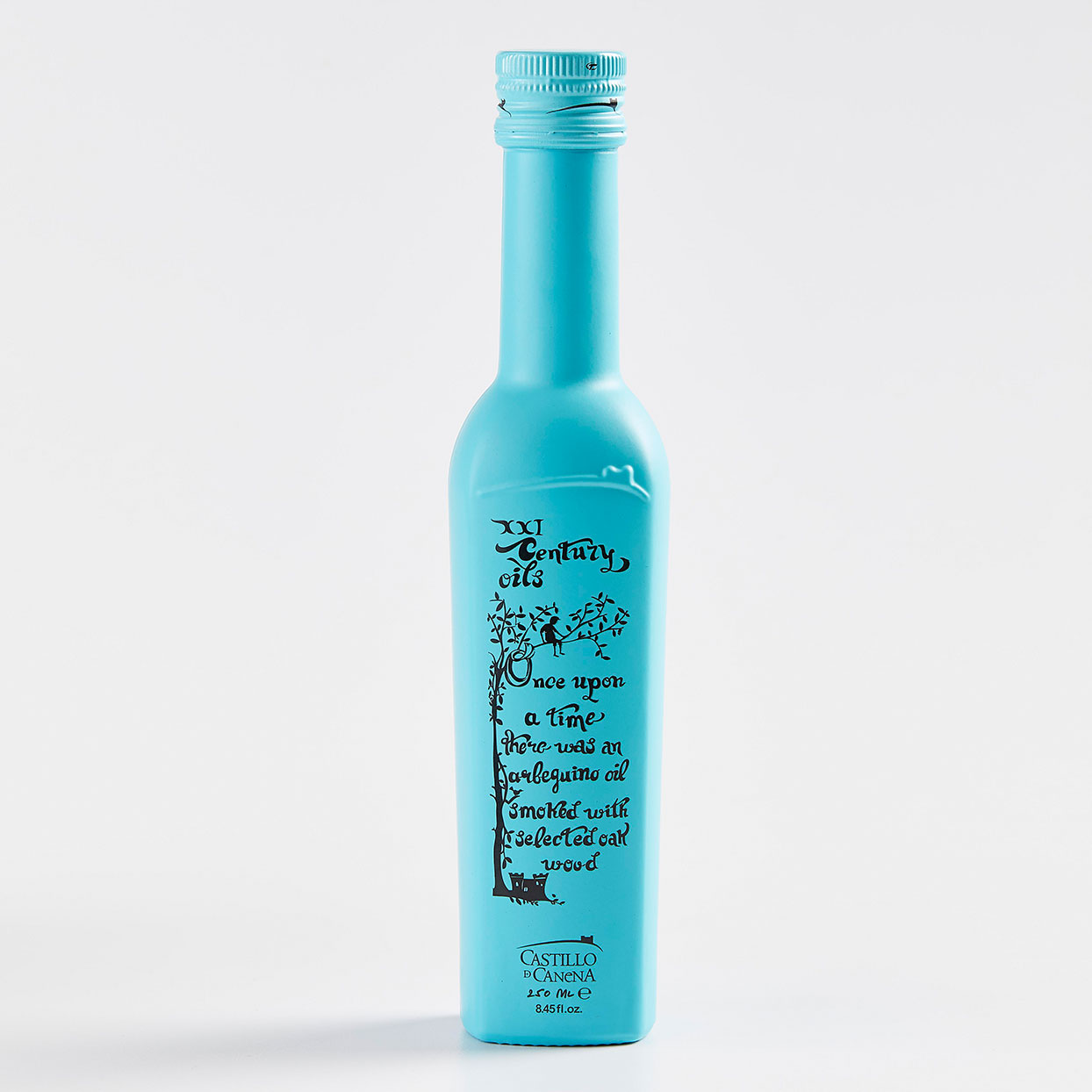 turquoise bottle of olive oil